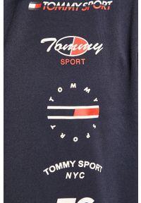 Niebieska bluza rozpinana Tommy Sport bez kaptura, z nadrukiem