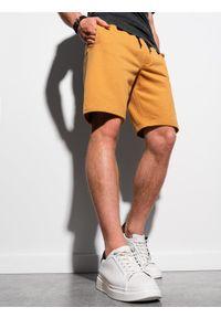 Ombre Clothing - Krótkie spodenki męskie dresowe W291 - musztardowe - XXL. Kolor: żółty. Materiał: dresówka. Długość: krótkie. Styl: klasyczny