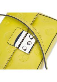 Wittchen - Damska listonoszka skórzana z monogramem mała. Kolor: żółty. Wzór: haft, aplikacja. Sezon: lato. Dodatki: z haftem. Materiał: skórzane. Styl: elegancki, casual. Rodzaj torebki: na ramię