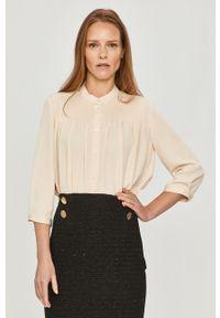 Kremowa koszula Calvin Klein z długim rękawem, długa, na co dzień