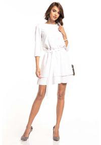 Tessita - Biała Sukienka z Rozkloszowanym Podwójnym Dołem. Kolor: biały. Materiał: poliester, elastan