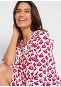 Sukienka tunikowa z dekoltem w serek i koronkową wstawką bonprix pomarańczowo-czerwony -beżowo-szary z nadrukiem. Typ kołnierza: dekolt w serek. Kolor: czerwony. Materiał: koronka. Wzór: nadruk