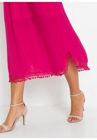 Sukienka midi z falbaną bonprix różowy. Kolor: różowy. Styl: elegancki. Długość: midi