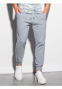 Ombre Clothing - Spodnie męskie dresowe joggery P947 - szare - XXL. Okazja: na co dzień. Kolor: szary. Materiał: dresówka. Styl: casual