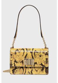Furla - Torebka skórzana 1927. Kolor: żółty. Materiał: skórzane. Rodzaj torebki: na ramię
