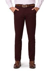 Lancerto - Spodnie Brązowe Chino Nestor. Kolor: brązowy. Materiał: elastan, bawełna, materiał. Wzór: kolorowy. Styl: sportowy