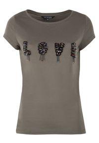 Brązowy t-shirt TOP SECRET na lato, krótki, z aplikacjami
