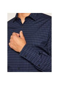 Niebieska koszula casual Karl Lagerfeld z dekoltem karo