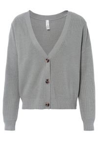 Sweter rozpinany bonprix jasnoszary. Kolor: szary