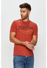 Brązowy t-shirt Premium by Jack&Jones z okrągłym kołnierzem, na co dzień, casualowy