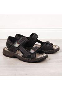 Czarne sandały Rieker sportowe, na rzepy