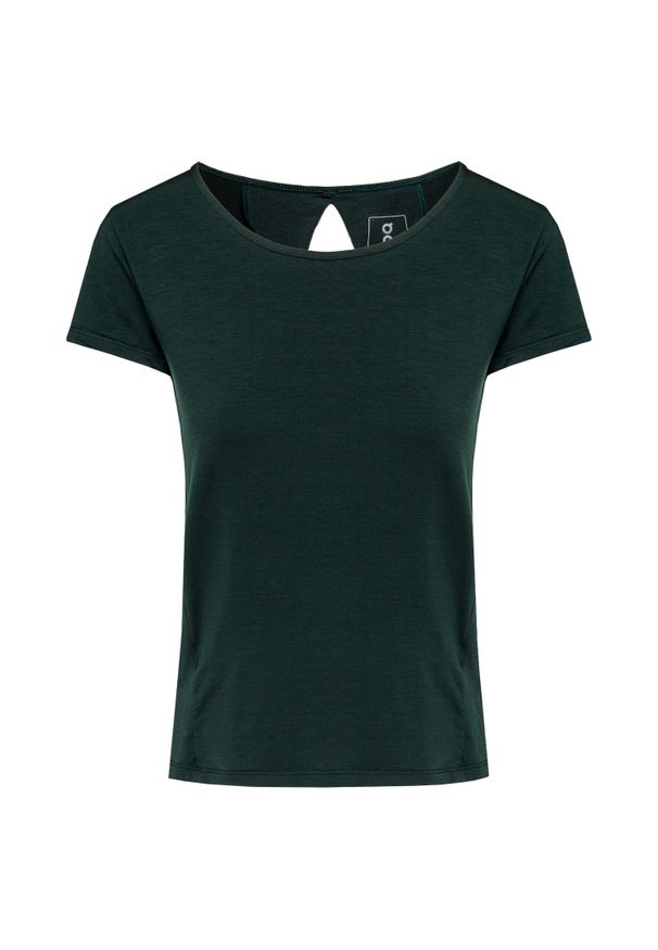 Zielona koszulka termoaktywna On Running z dekoltem na plecach, na fitness i siłownię