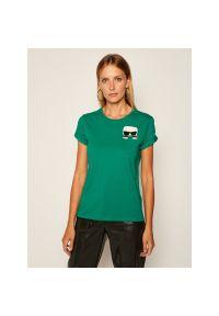 Zielony t-shirt Karl Lagerfeld z dekoltem karo