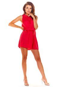 Awama - Fuksja Letnia Sukienka z Marszczonym Dekoltem. Kolor: różowy. Materiał: wiskoza, elastan. Sezon: lato