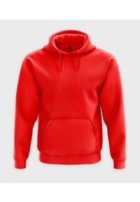 MegaKoszulki - Męska bluza z kapturem (bez nadruku, gładka) - czerwona. Typ kołnierza: kaptur. Kolor: czerwony. Wzór: gładki