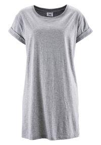 """Długi shirt """"boxy"""", krótki rękaw bonprix jasnoszary melanż. Kolor: szary. Długość rękawa: krótki rękaw. Długość: krótkie. Wzór: melanż"""