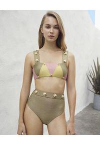 LILY&ROSE - Błyszczące bikini Mimosa. Stan: podwyższony. Kolor: zielony. Materiał: materiał. Wzór: aplikacja