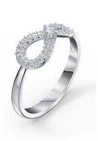 Srebrny pierścionek Swarovski z aplikacjami, z kryształem, metalowy