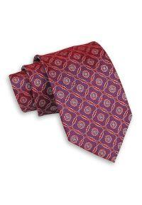 Czerwony Mieniący Męski Krawat -Chattier- 7,5cm, Klasyczny, Szeroki, Elegancki, Wzór Geometryczny. Kolor: niebieski, czerwony, wielokolorowy. Materiał: tkanina. Wzór: geometria. Styl: klasyczny, elegancki