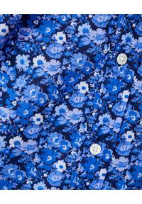 Ralph Lauren - RALPH LAUREN - Niebieska koszula w kwiaty Relaxed Fit. Okazja: na co dzień. Typ kołnierza: polo. Kolor: niebieski. Materiał: jeans, materiał. Długość rękawa: długi rękaw. Długość: długie. Wzór: kwiaty. Styl: casual