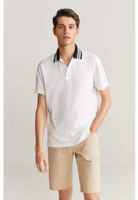 Biała koszulka polo Mango Man na co dzień, casualowa, z aplikacjami, polo
