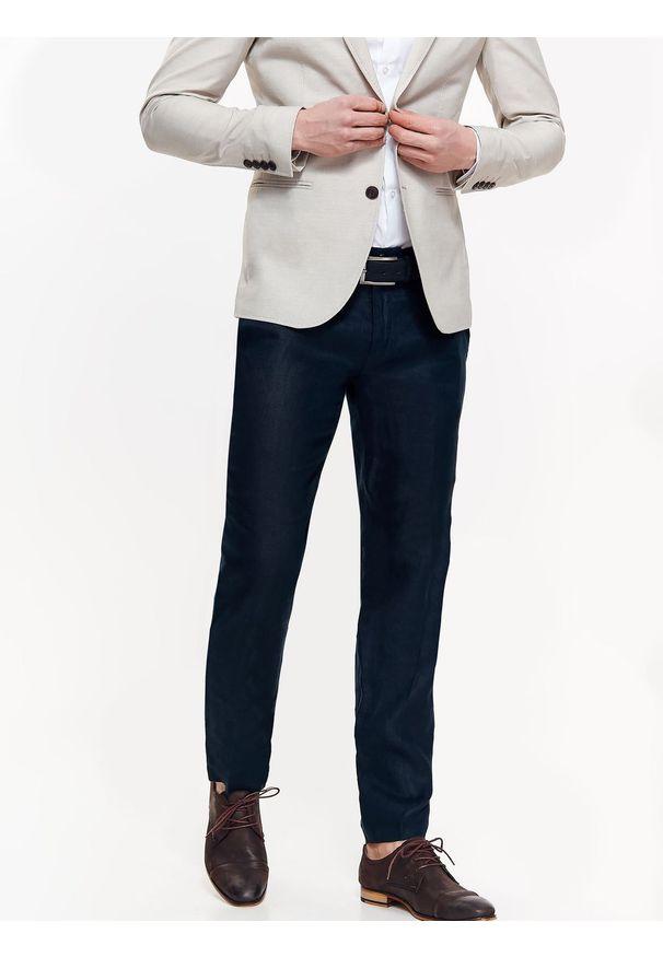 Niebieskie spodnie TOP SECRET do pracy, długie, na lato, biznesowe