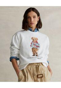Ralph Lauren - RALPH LAUREN - Biała bluza z misiem Relaxed fit. Typ kołnierza: polo. Kolor: biały. Materiał: bawełna. Długość rękawa: długi rękaw. Długość: długie