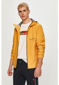 Żółta kurtka TOMMY HILFIGER z kapturem, na co dzień, gładkie