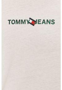 Biała koszulka z długim rękawem Tommy Jeans na co dzień, casualowa