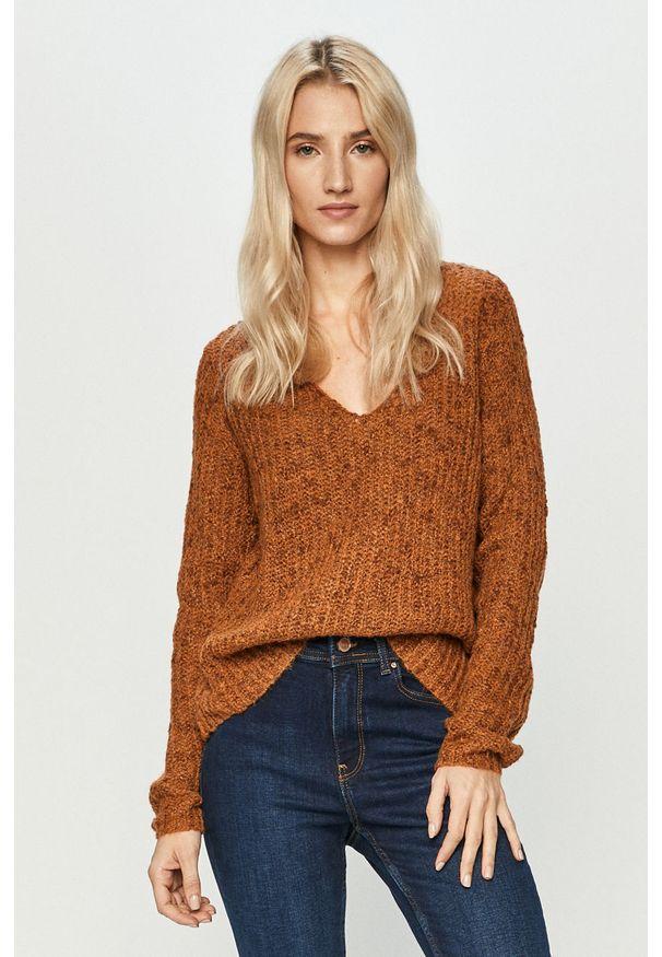 Brązowy sweter Jacqueline de Yong długi, casualowy, na co dzień