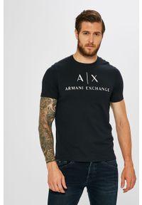 Niebieski t-shirt Armani Exchange na co dzień, z okrągłym kołnierzem