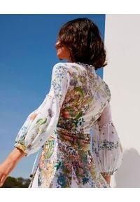 CHARO RUIZ IBIZA - Bluzka z botanicznym nadrukiem Carolyn. Kolor: biały. Materiał: koronka, bawełna. Długość: długie. Wzór: nadruk