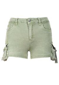 Renee - Zielone Szorty Kimodelia. Stan: podwyższony. Kolor: zielony. Materiał: jeans. Styl: sportowy