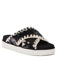 Mou - Klapki MOU - Criss Cross Bio Sandal Plain SW251003G Seqbla. Okazja: na spacer. Kolor: czarny. Materiał: materiał. Sezon: lato