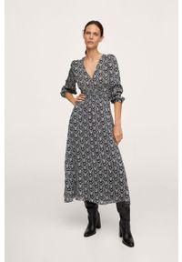 mango - Mango - Sukienka JAPAN. Kolor: czarny. Materiał: materiał. Długość rękawa: długi rękaw. Typ sukienki: rozkloszowane