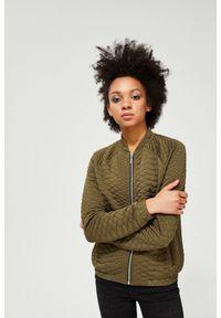 Zielona bluza MOODO ze stójką, długa, z długim rękawem