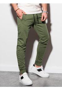 Ombre Clothing - Spodnie męskie dresowe joggery P952 - khaki - XXL. Kolor: brązowy. Materiał: dresówka