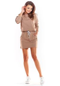 Infinite You - Beżowa Krótka Sukienka Bawełniana Ściągana w Pasie. Kolor: beżowy. Materiał: bawełna. Długość: mini