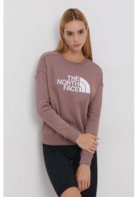 The North Face - Bluza bawełniana. Kolor: różowy. Materiał: bawełna. Wzór: nadruk