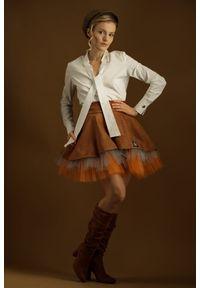 Brązowa spódnica Hultaj Polski krótka, w kolorowe wzory