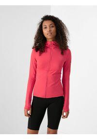 4f - Bluza trekkingowa damska. Typ kołnierza: kaptur. Kolor: czerwony. Materiał: dzianina, włókno