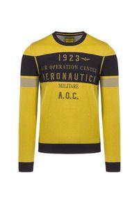 Aeronautica Militare - Sweter AERONAUTICA MILITARE. Kolor: żółty. Materiał: bawełna, prążkowany. Wzór: haft