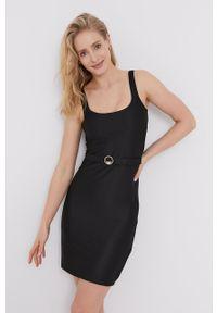 Emporio Armani - Sukienka. Kolor: czarny. Materiał: dzianina. Długość rękawa: na ramiączkach. Wzór: gładki. Typ sukienki: dopasowane