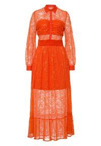 Sukienka z siatkową wstawką bonprix pomarańczowy. Kolor: pomarańczowy. Materiał: koronka. Wzór: koronka