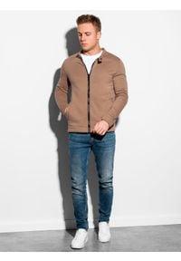 Ombre Clothing - Bluza męska rozpinana bez kaptura B1071 - brązowa - XXL. Typ kołnierza: bez kaptura. Kolor: brązowy. Materiał: bawełna, poliester