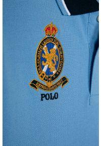 Niebieski t-shirt polo Polo Ralph Lauren z aplikacjami, na co dzień, krótki