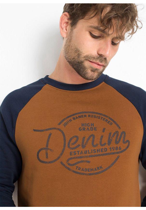 Brązowa bluza bonprix z nadrukiem, raglanowy rękaw