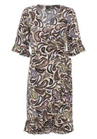 Beżowa sukienka bonprix kopertowa