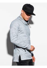 Ombre Clothing - Bluza męska ze stójką B1096 - szara - XXL. Typ kołnierza: kołnierzyk stójkowy. Kolor: szary. Materiał: bawełna, poliester