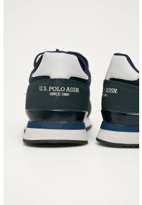 Niebieskie sneakersy U.S. Polo Assn na sznurówki, z okrągłym noskiem